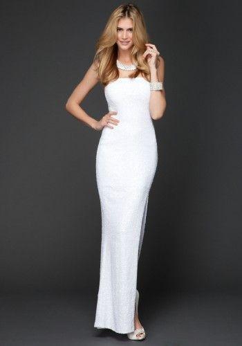 Bebe White Dress | Long Strapless Sequin Dress - White - S ...