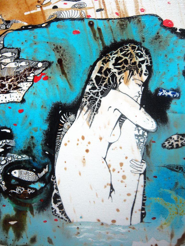 """""""Холодно"""" холст, акрил. Фрагмент работы художника Наталии Пастушенко, авторская техника. Контакт с автором по вопросам приобретения прав на публикацию или покупки оригиналов - pastuszenko@gmail.com"""