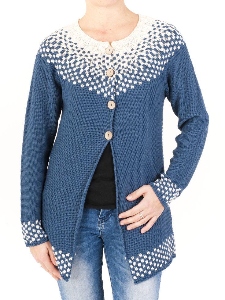 Chaqueta larga de punto para mujer, diseño geométrico jacquard. Cierre con 4 botones ideal para otoño-invierno. Combinable con otras prendas de temporada.