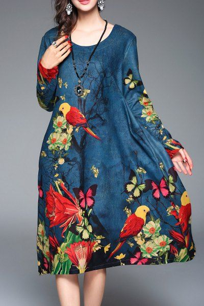 Blueoxy Peacock Blue Floral Long Sleeve Casual Dress | Midi Dresses at DEZZAL