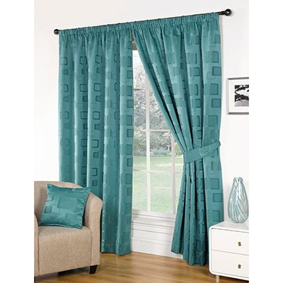 Milano Teal Blue Pencil Pleat Curtains with Matching Tie Backs now just £12.99 from £29.99!