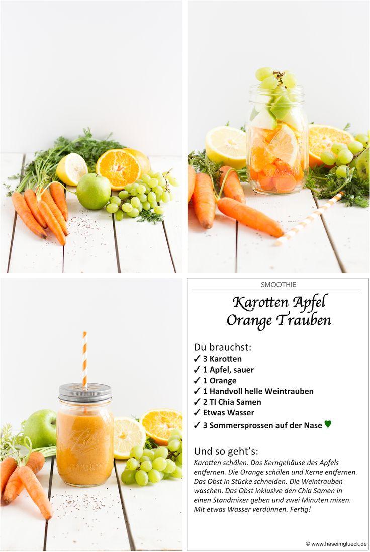 Smoothie Karotten Apfel Orange / auch ohne Chia, +etwas Zitronensaft, evtl. 200g O-Saft, 50g Eiswürfel. Erst Obst 30sek Stufe 10, dann Saft und Eiswürfel 1 Min Stufe 10