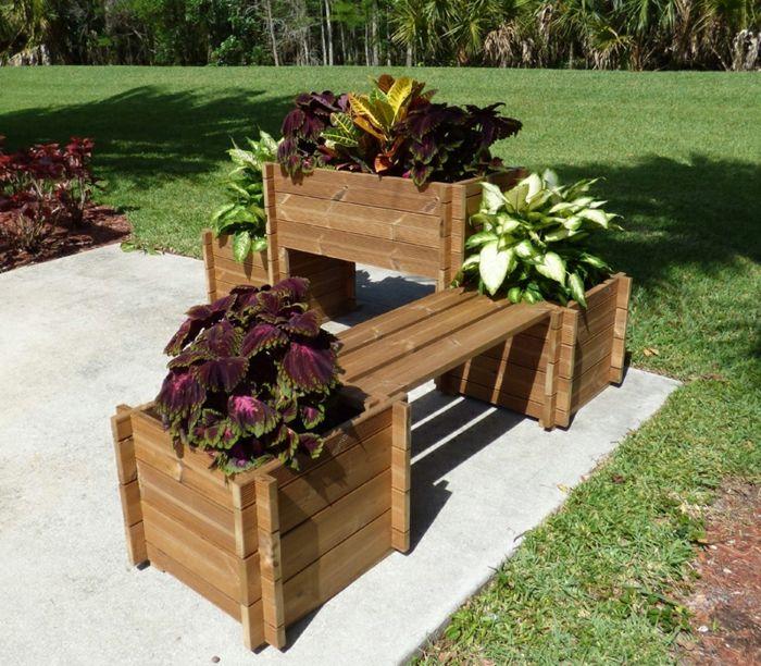 hochbeete funktionale gartengestaltung ideen gartenbank pflanzenbehälter