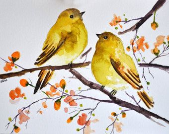 ORIGINAL Watercolor Bird Painting Yellow Bird by ArtCornerShop