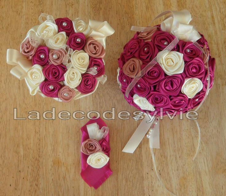 Bouquet boule et demoiselle d'honneur en satin #Mariage