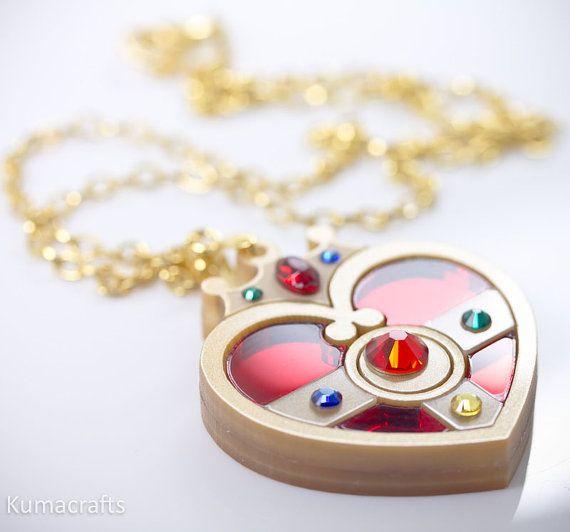 READY TO SHIP Sailor Moon Inspired Cosmic Heart Compact Necklace Pendant Laser Cut Acrylic. $25.00, via Etsy.