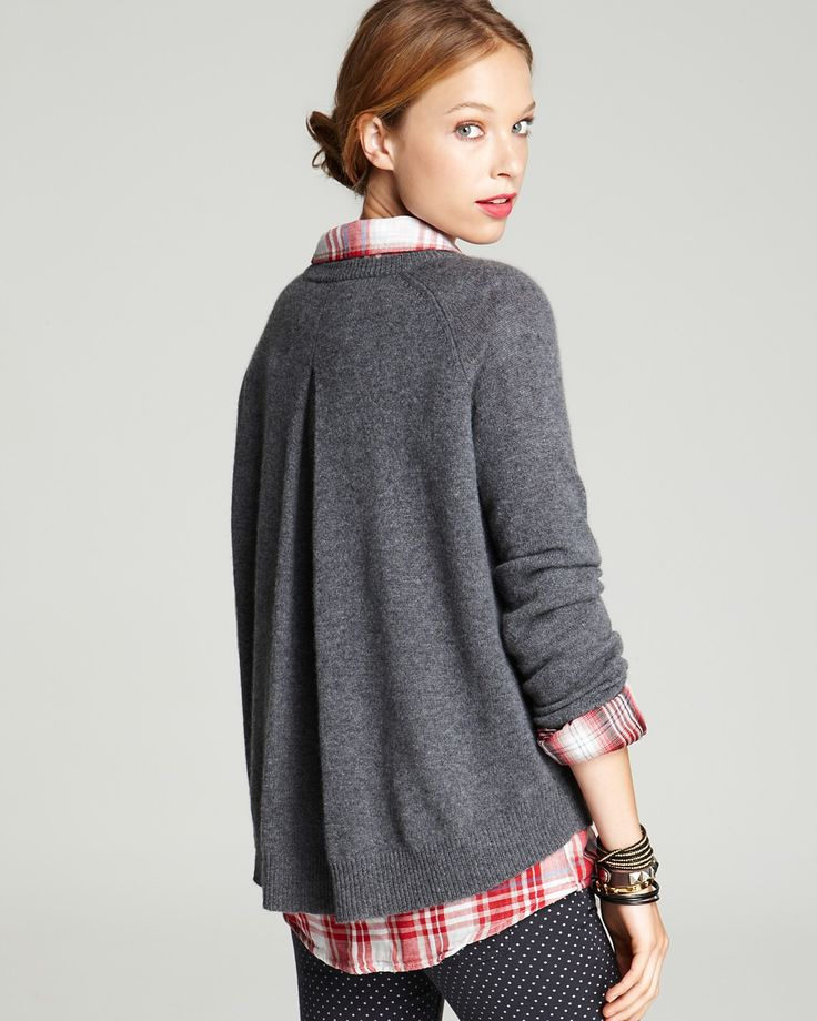 AQUA Cashmere Sweater - Inverted Back Pleat Pullover | Bloomingdale's