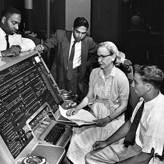 Grace Hopper sits by the UNIVAC keyboard circa 1960. A U.S. naval officer and mathematician, she was a pioneer in developing computer technology and helped devise UNIVAC I, the first commercial electronic computer.  Photo courtesy of Jan Arkesteijn.
