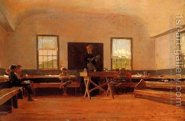 """Winslow Homer's """"Country School"""": Artists Winslow Homer, Oil Paintings, Rooms Schoolhouse, Houses Books, Art Winslow Homer, Country Schools, Oneroom Schoolhouse, Homer Country, Teacher Desks"""