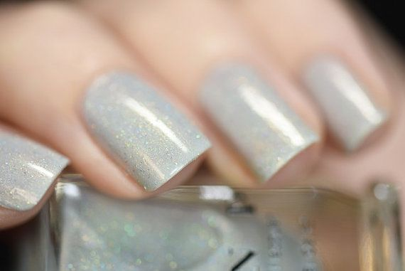Paper Route Light Grey Holographic Nail Polish by ILoveNP on Etsy