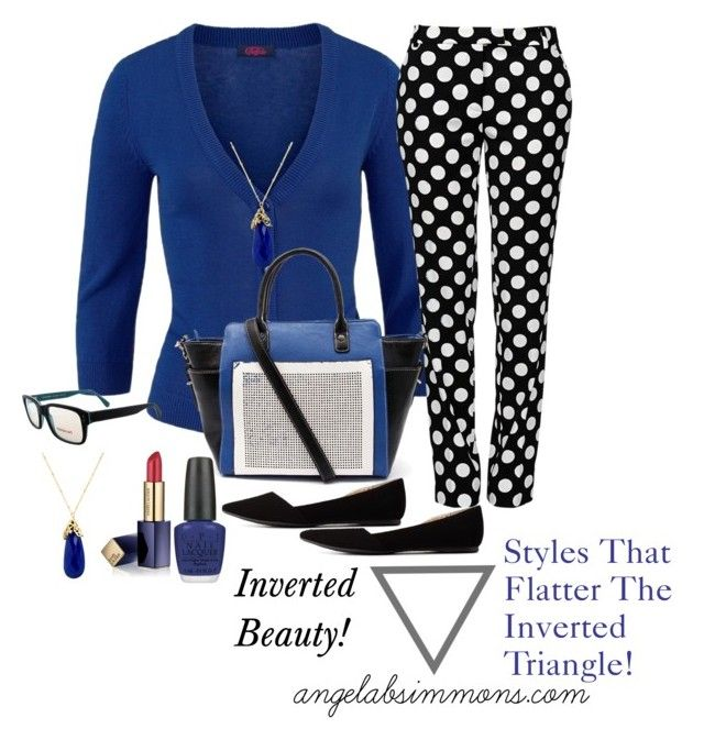 Finding styles that flatter a woman with bold, dramatic, and classic taste who happens to have an inverted triangle type figure! angelabsimmons.comBold Dramatic Styles That Flatter! by typology on Polyvore featuring Boutique Moschino, Charlotte Russe, Jendi, Indulgems, SocialEyes, Estée Lauder, OPI, invertedtriangle and invertedbeauty