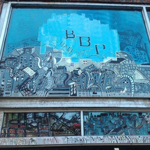 garage door entrance BBP art show.