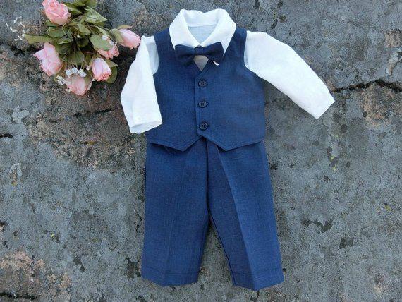 0d37d3e1b Navy blue baby ring bearer outfit Baby nautical wedding linen suit ...