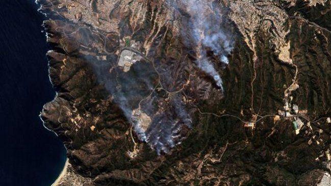 FACh reveló imágenes satelitales del incendio en Valparaíso - Cooperativa.cl