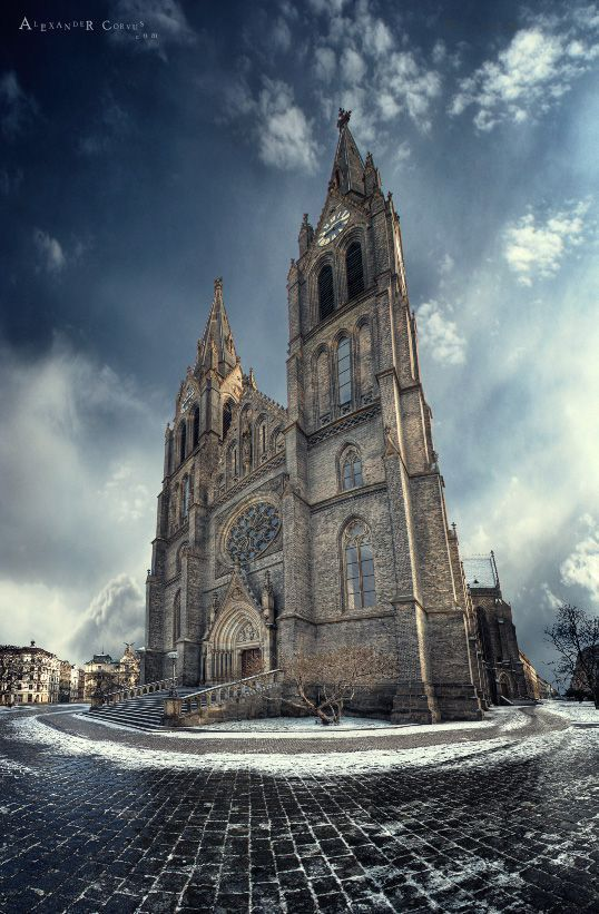 The Church of St. Ludmila is a typical neo-Gothic church at Náměstí Míru (Peace Square) in Prague's Vinohrady, built on plans of Josef Mocker in 1888–1892. The church houses the tomb of St. Ludmila and St. Wenceslaus I.  Czech Republic