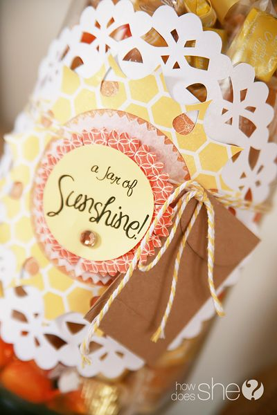 Jar of Sunshine gift idea...jar of 365 yellowish candies, bunches of them wrapped in a note of appreciation, admiration, gratitude for your mom...so she gets one treat a day for a whole year!