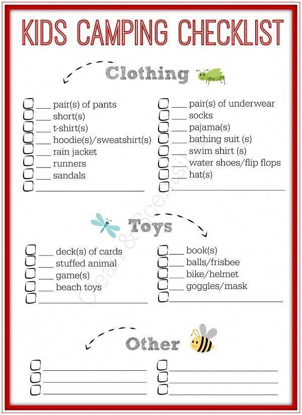 Liste de contrôle imprimable gratuite pour les enfants – Maintenant, les enfants peuvent emballer leurs propres affaires avec …   – Camping Checklist