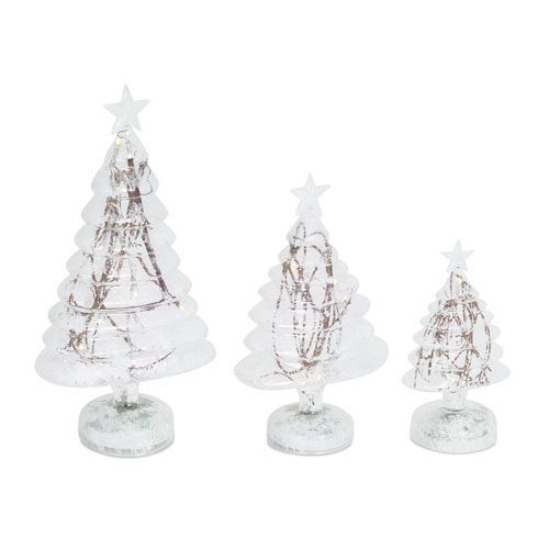White and Brown LED Frosted Trees with Twigs, Set of Three