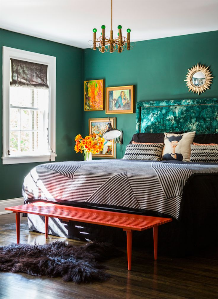 emerald green bedroom paint colors The Color Trick That Livens Up Any Room | Emerald green bedrooms, Green bedrooms and Bedrooms
