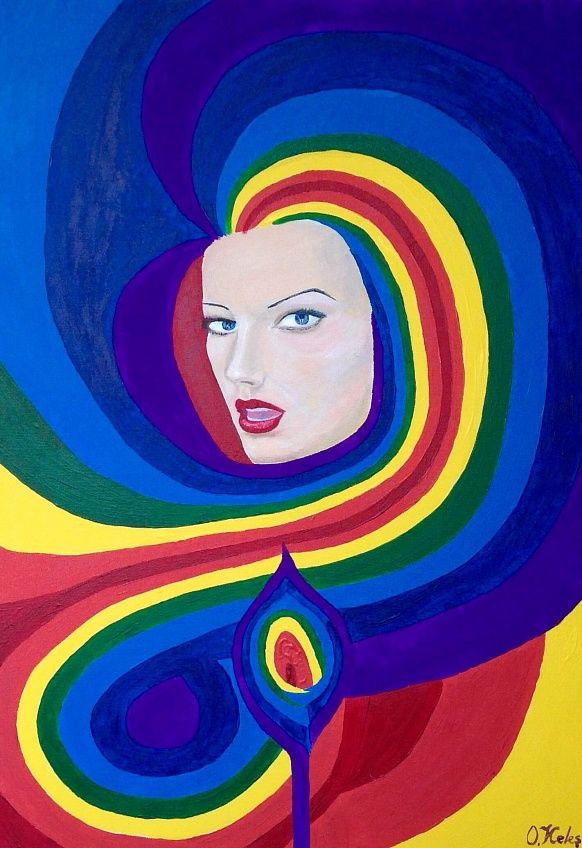 Temptation 50#70 Canvas, Acrilyc #temptation #colorful #positivism #rainbow #positivismart #olgakeles #modern #beautiful #painting #woman