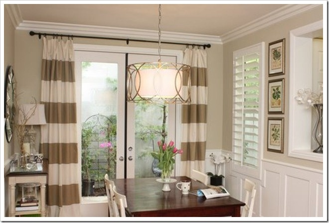 striped drapes: Dining Rooms, The Doors, Living Rooms, French Doors, Stripes Draping, Decoration Idea, Horizontal Stripes, Stripes Curtains, Striped Curtains
