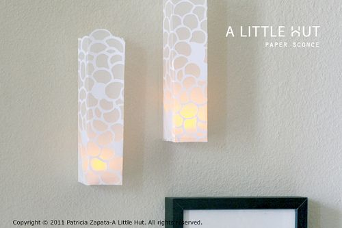 Paper sconce tutorial - template included - for use with LED lights only!