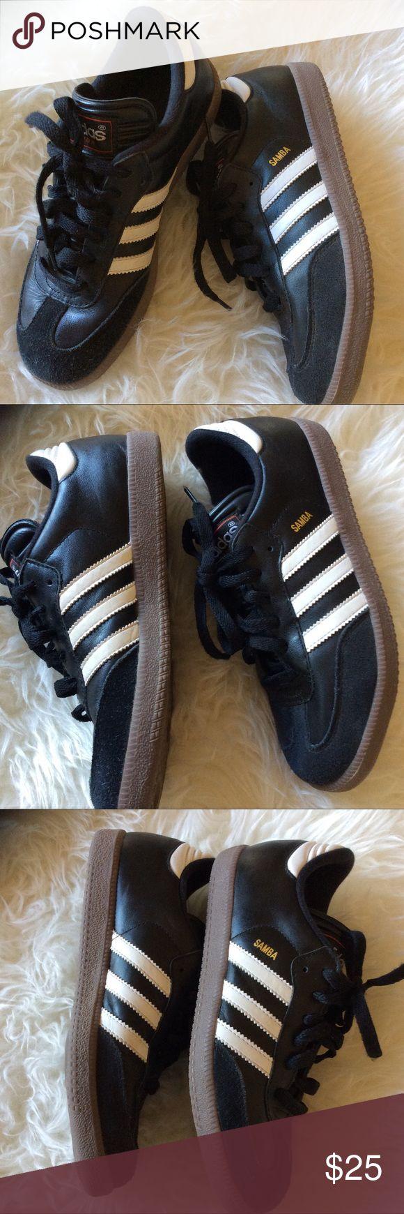 Size 7.5 women's Adidas black and white samba shoe VGUC kids size 5.5 women's size 7.5 black with white stripes adidas samba suede and leather gum bottoms. adidas Shoes