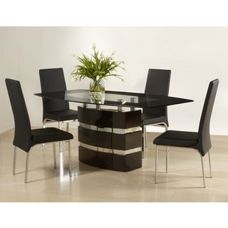 Somette Xandra Boat Shaped Black Glass Dining Table