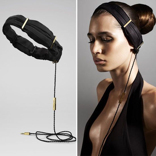 These headphones are designed to look like a gorgeous headband. Very clever and very stylish.
