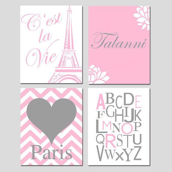 Girl Wall Art - Set of Four 8x10 Prints - Cest La Vie Eiffel Tower, Alphabet, Chevron Paris Heart, Custom Floral Name - CHOOSE YOUR COLORS
