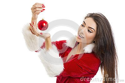 Beautiful delighted woman in Santa Claus outfit looking at red bauble in her hands , isolated on white.  Download Delighted Young Woman Holding Red Bauble Stock Images for free or as low as 0.69 lei. New users enjoy 60% OFF. 20,069,552 high-resolution stock photos and vector illustrations. Image: 35595594