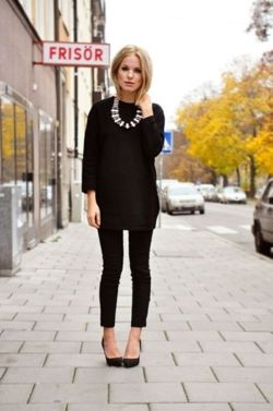 All black outfit and statement necklace in a different color--Something about the idea of wearing all black for the fall has me so excited.