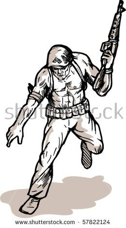 vector illustration of an american soldier with armalite rifle  #soldier #sketch #illustration