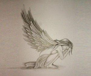 Sad angel tattoo wallpaper