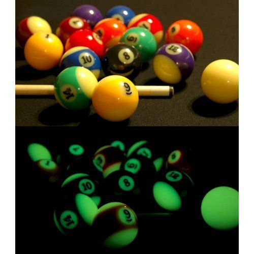 Glow in the Dark Pool Balls / Billiard Balls - Full Set by Vantage. $79.99. This Grade A set of glow in the dark pool balls consists of 16 billiard / pool balls that glow in the dark. No black light required.. Save 20% Off!