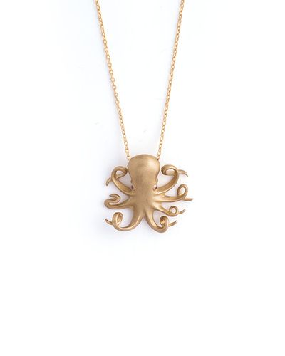 Baby Octopus Necklace, cute jewelry, simple pendant on a chain, dress up or down, gold