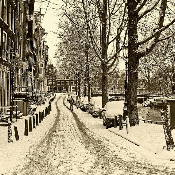 Walk in the Winter Snow Amsterdam  Quality Canvas Art in by topix