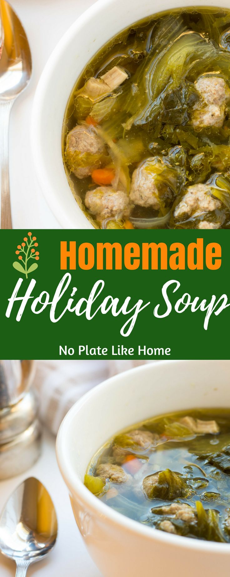 This delicious holiday favorite is made by stewing a whole chicken to get the best homemade flavor. You'll love the tasty mini meatballs and chicken bits. Serve this at Christmas dinner. This soup is a great cold remedy for sore throats too. Pin for later.