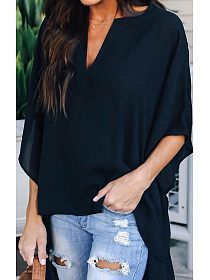 Chic Elegant Irregular V-Neck Top 8