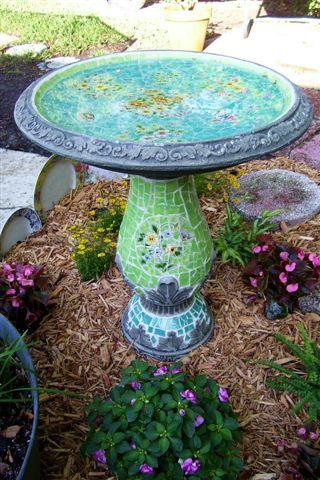 Mosaic Birdbath by turtlepatrol, via Flickr