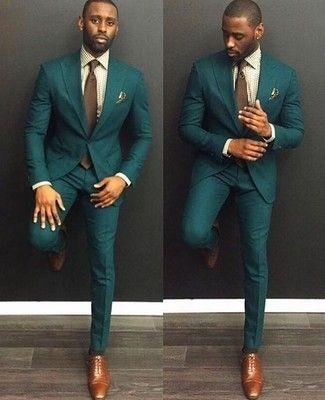 Tenue Costume vert foncé, Chemise de ville en vichy beige, Chaussures  richelieu en