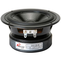 "The Designer Series DS135-8 from Dayton Audio brings great audio fidelity and superior cosmetics to the 5"" woofer category.    Specifications:   • Power handling: 50 watts RMS/100 watts max • VCdia: 1"" • Le: 0.88 mH • Impedance: 8 ohms • Re: 5.9 ohms • Frequency range: 50-7,000 Hz • Fs: 50.9 Hz • SPL: 86.9 dB 2.83V/1m • Vas: 0.27 cu. ft. • Qms: 1.94 • Qes: 0.44 • Qts: 0.36 • Xmax: 4.85 mm • Dimensions: Overall diameter: 5-5/16"", Cutout diameter: 4-1/2"", Depth: 2-5/8"" $24.57"