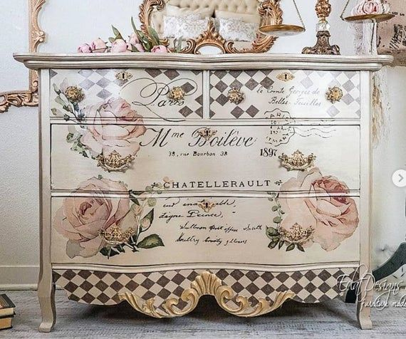 Furniture Decals Chatellerault Roses By Redesign Etsy Decoupage Furniture Painted Furniture Chic Furniture