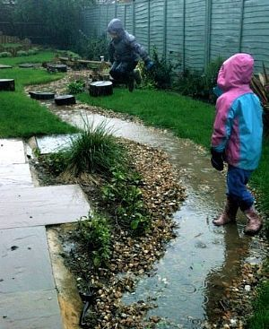 Kids at play in rain garden, design by Mark Laurence