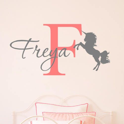 A unicorn themed personalised wall sticker containing your the name and initial of your child, in the two colours of your choice. Please see our colour chart for all available options. Height: 59cm Width: Varies (see below) Colours: 13 available Material: Machine cut vinyl Durability: 10+