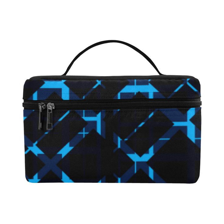 Diagonal Blue & Black Plaid Hipster Style Cosmetic Bag/Large by Scar Design. #toiletrybag #toiletry #cosmeticbag #travelbag #travel #weekendtravelbag #family #onlineshopping #shopping #artsadd #gifts #scardesign #bag #style #fashion #giftsforhim #giftsforher #39 #design #modern  #plaid #plaidpattenrn #trendy #toiletrytravelbag #blue