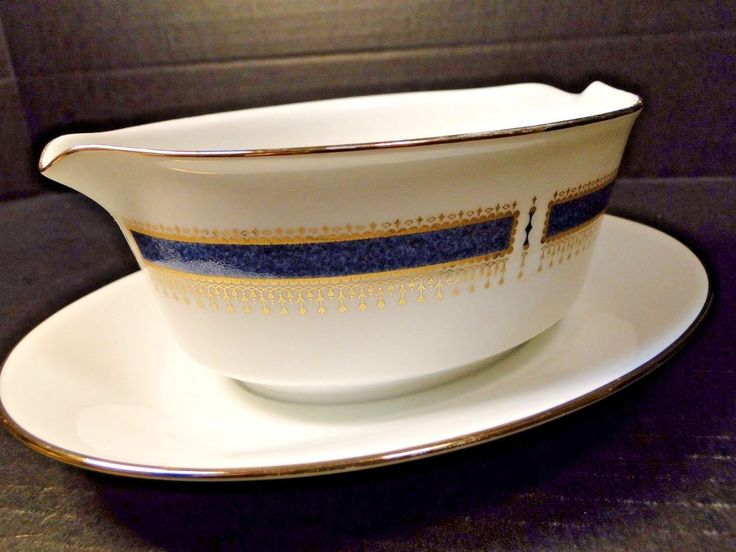 Noritake Blue Dawn Gravy Boat with Attached UnderPlate 6611 EXCELLENT! #Noritake
