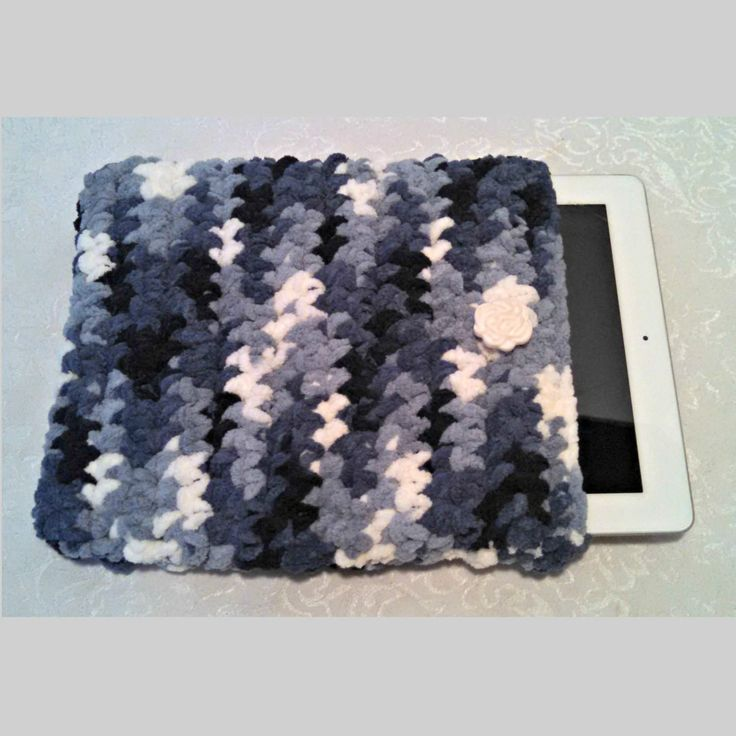 Chenille 10 Inch Tablet iPad Cover with Vintage Button, Hand Crocheted Tablet Sleeve, Blue, #FB-B6, Washable, Free Domestic Shipping by AnchorLineVintage on Etsy