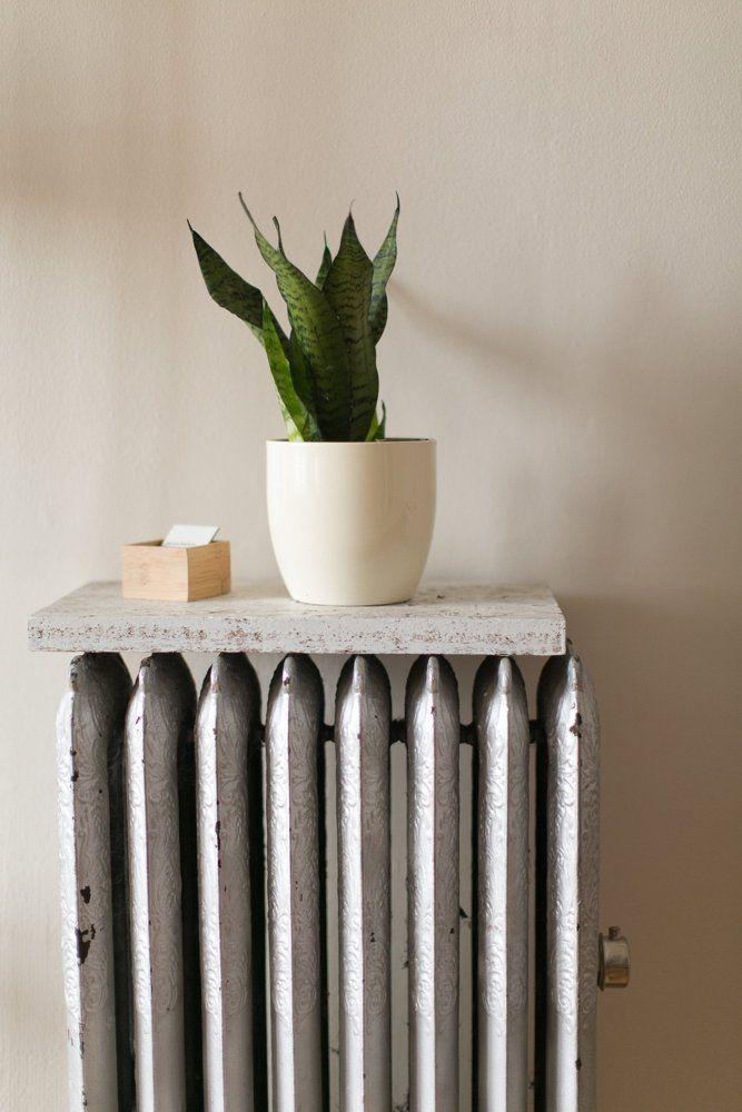 A flat surface turns a radiator into a shelf!