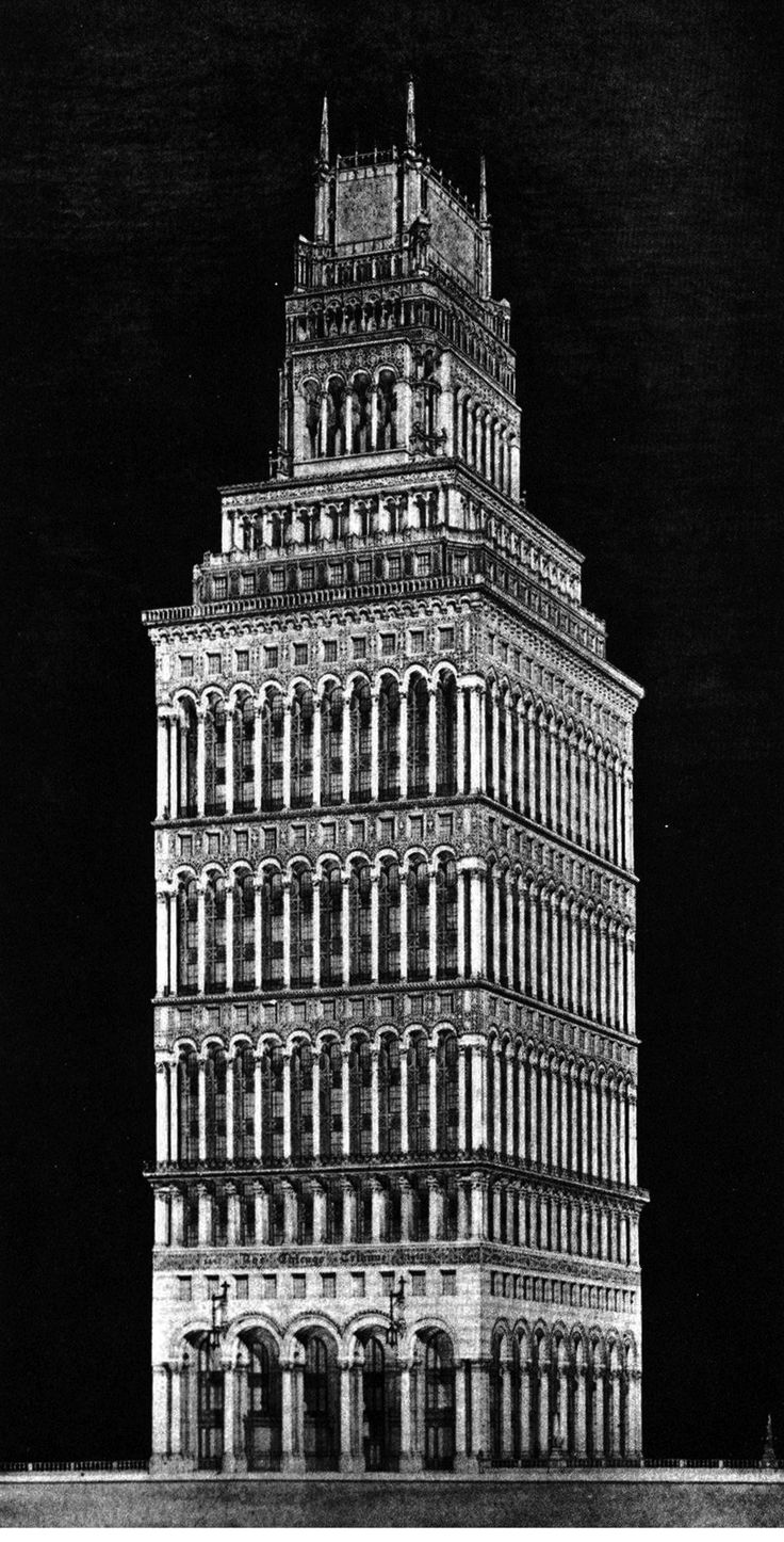 HENRY HORNBOSTEL and Eric Fisher Wood, Entry to the Chicago Tribune Tower Competition, 1922